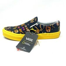 Vans Classic Slip On National Geographic Yellow Black Photo Women's 7.5 Shoes