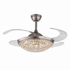 """42"""" Retractable Ceiling Fans with Light Modern Chandelier Lamp Remote Control"""