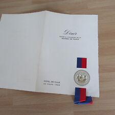 MENU DINER 1966 HOTEL DE VILLE MAIRIE DE PARIS