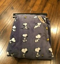 "Snoopy and Woodstock Peanuts Gray plush 50"" x 70"" throw blanket New"