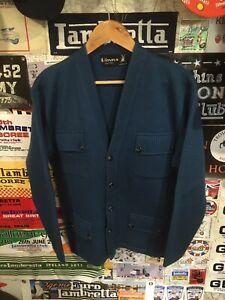 Binns Vintage Mod 1960s Pocket Cardigain L Blue Wool