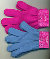 Acrylic Knit Wrist Gloves Black Turquoise or Pink One Size Stretch Adult / Child