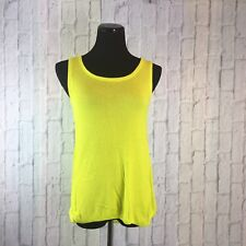 APT 9 Sleeveless Blouse Neon Green Knit Front Sheer Back Women's XS Extra Small