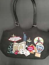 Las Vegas satchel purse medium black canvas embroidered icons 14 x8 x 5 in