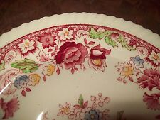 Johnson Bros Winchester Rimmed Soup Bowl Cranberry Flowers Rope Trim Old Mark