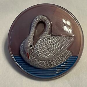 Vintage Glass Button Lavender Swan Resting
