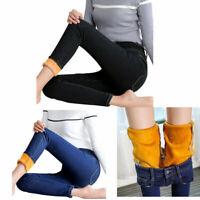 Women Slim Skinny crop fleece-lined Jeans Stretch Pencil Denim Pants trousers