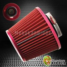 3'' Inlet Red Short Ram/Cold Intake High Flow Mesh Cone Air Filter Fit Universal