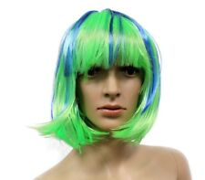 Neon Green and Blue Wig, Halloween Costume Accessories, Straight Hair Bob Wig