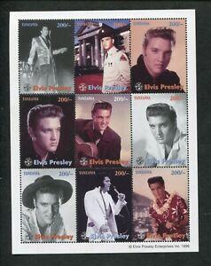 1996 Tanzania Commemorative Souvenir Stamp Sheet - Official Elvis Presley