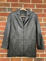 Terry Lewis Designer Classic Luxuries Size Small Black Leather Jacket Coat