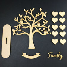 MDF Wooden Family Tree Set with Hearts, Word & Banner Craft Blank OWL STAND KIT