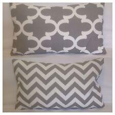 50x30cm Lumbar Indoor/Outdoor Grey/White Moroccan/Chevron Cushion Cover