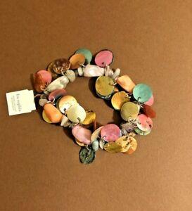 Lia Sophia Stunning Multi Colored Shell Like Discs NWT Bracelet