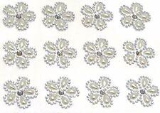12 Pearl & Diamante Self Adhesive Embellishment Gems Flower Crystals 25mm Craft