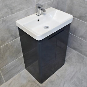 Ross Anthracite Curved Vanity Basin Sink Unit 550mm or 700mm Width