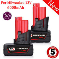 2X Battery For Milwaukee 48-11-2460 M12 XC 6.0 48-11-2440 12V M12B6 LITHIUM-ION