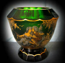 Vase Hand Blown Cut Glass Art Glass