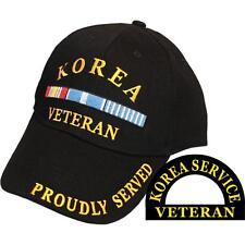 US Armed Forces Korean Korea Veteran Proudly Served Black Hat Cap