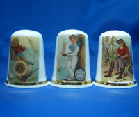Birchcroft China Thimbles -- Set of Three -- Sewing Thread Action Posters