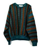 Vintage London Fog Men's Large Long Sleeve Crew Neck Knitted Patterned Sweater