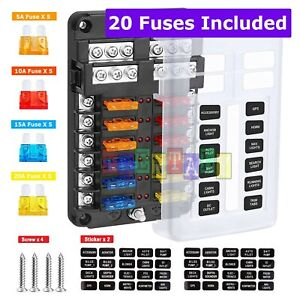 LED Indicator and Protection Cover for Auto Vehicle Boat Marine Waterproof Fuse Block Holder with 16Pcs Fuses Car Blade Fuse Box