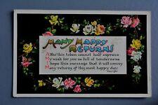 R&L Postcard: Greetings, Ettlinger 1908 Birthday, Tinted Rose Flowers