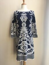 MONSOON Navy White Baroque Pattern Jumper Sweater Dress - UK 8