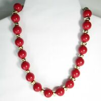 Vintage Red Gold Beaded Necklace Round Plastic Beads Cherry Red 80s 90s