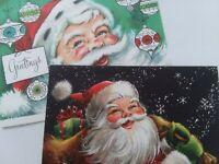 2 Vtg SANTA Ornaments & Bag of Gifts CHRISTMAS GREETING CARDS