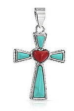 Sterling Silver Turquoise Gemstone Coral Heart Cross Religious Pendant