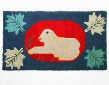 EARLY 20TH C AMERICAN ANTIQUE FOLK ART WOOL HOOKED RUG, W/SHEEP FIG/MAPLE LEAFS