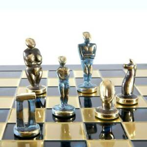 Manopoulos Cycladic Art Large Chess Set - Bronze Material - Blue Handmade Board