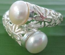 REAL925 sterling silver 7 mm White FRESHWATER PEARL Ring big size -GIRL WOMEN
