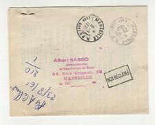 France 1 timbre sur lettre R retour à l'envoyeur 1961 tampon Marseille /L450