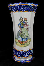 Grand vase decor Breton en faience de Quimper Henriot