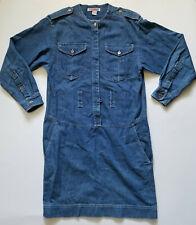 Vintage Fads Denim Dress Long Sleeve Pockets Size 12 Drop Waist