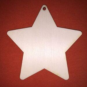 10 x V- STAR 10cm PLAIN WOODEN HANGING SHAPE FOR CRAFT EMBELLISHMENTS XMAS TAG
