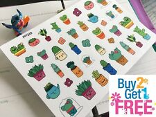 PP249 -- Kawaii Succulent Plants Life Planner Stickers for Erin Condren (36pcs)
