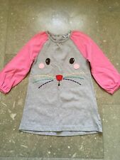Mini Boden Toddler Girls 18-24 Months Pink Grey Dress Bunny Face Appliqué