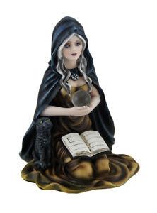 Zeckos Kneeling Witch Holding Crystal Ball w/Black Cat Figurine