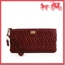 NWT Coach Madison Flat Clutch in Gathered Twist Leather 49721 Lgt Gld /Brick Red