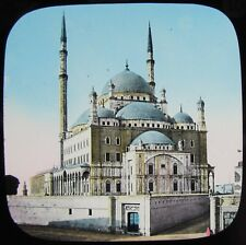 HAND COLOURED Glass Magic Lantern Slide CAIRO MOSQUE C1890 VICTORIAN PHOTO EGYPT