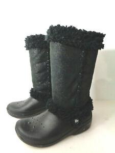 CROCS Nadia Black Pull on Mid Calf BOOTS w Faux Fur Trim Womens Size 7M