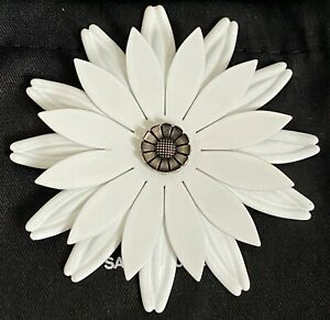 New Saint Laurent YSL White Flower Silver Lacquered Large Runway Pin Brooch $595