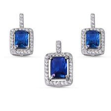 Princess Cut Blue Sapphire & Cubic Zirconia .925 Sterling Silver Earring