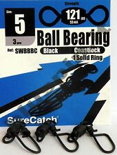 SURE CATCH Moschettoni  Black Ball Bearing Coast Lock Swivel Solid Ring - Size 5