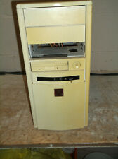 Vintage 486 Computer Case Tower with Power Supply Tested Works Retro DOS Gaming