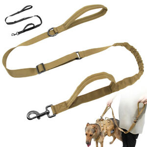 4-5ft Tactical Dog Leash Military Elastic Lead with 2 Handles Large K9 Training