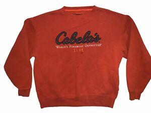 Cabelas Jumper Orange Pullover Mens Winter Outdoor Wear